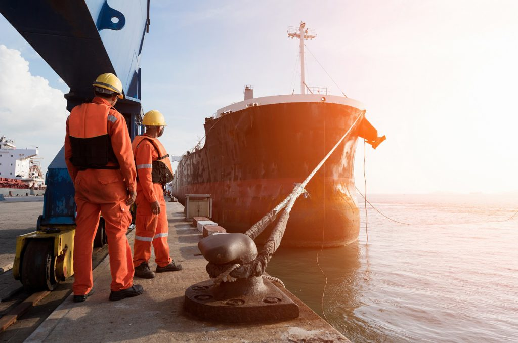 seafarers pulling cable wires